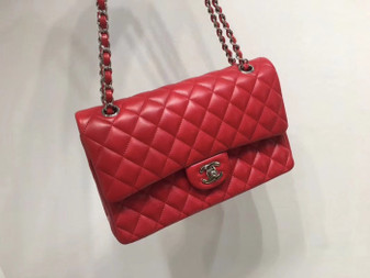 Chanel Classic Flap 25cm Bag Silver Hardware Lambskin Leather Spring/Summer 2018 Collection, Red