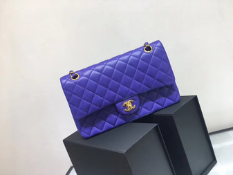 Chanel Classic Flap 25cm Bag Gold Hardware Lambskin Leather Spring/Summer 2018 Collection, Purple