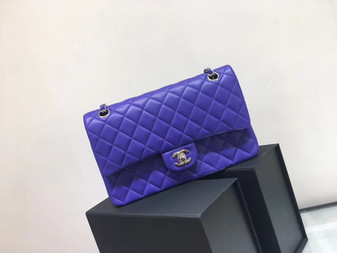 Chanel Classic Flap 25cm Bag Silver Hardware Lambskin Leather Spring/Summer 2018 Collection, Purple