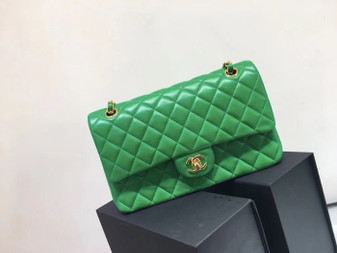 Chanel Classic Flap 25cm Bag Gold Hardware Lambskin Leather Spring/Summer 2018 Collection, Green