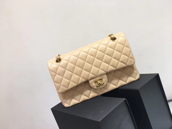 Chanel Classic Flap 25cm Bag Gold Hardware Lambskin Leather Spring/Summer 2018 Collection, Beige