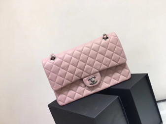 Chanel Classic Flap 25cm Bag Silver Hardware Lambskin Leather Spring/Summer 2018 Collection, Pink