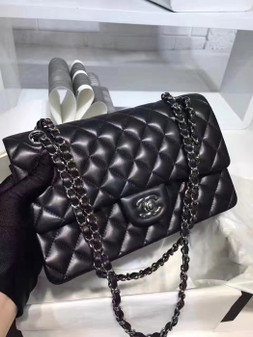 Chanel Classic Double Flap 25cm Bag Silver Hardware Lambskin Leather Spring/Summer 2018 Collection, Black