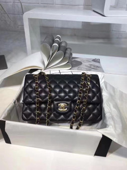 Chanel Classic Double Flap 25cm Bag Gold Hardware Lambskin Leather Spring/Summer 2018 Collection, Black