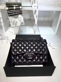 Chanel Classic Double Flap 30cm Bag Silver Hardware Lambskin Leather Spring/Summer 2018 Collection, Black