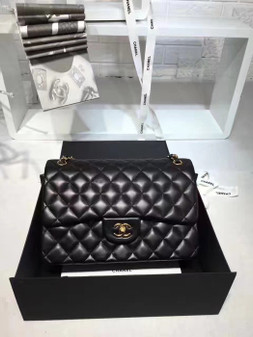 Chanel Classic Double Flap 30cm Bag Gold Hardware Lambskin Leather Spring/Summer 2018 Collection, Black