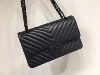 Chanel Chevron Flap Bag 25cm Lambskin Leather Spring/Summer 2018 Collection, So Black