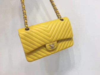 Chanel Chevron Flap Bag 25cm Gold Hardware Lambskin Leather Spring/Summer 2018 Collection, Yellow