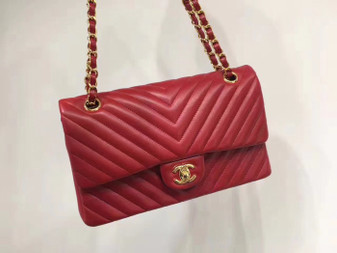 Chanel Chevron Flap Bag 25cm Gold Hardware Lambskin Leather Spring/Summer 2018 Collection, Red
