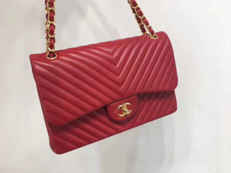Chanel Chevron Flap Bag 30cm Gold Hardware Lambskin Leather Spring/Summer 2018 Collection, Red