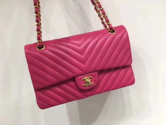 Chanel Chevron Flap Bag 25cm Gold Hardware Lambskin Leather Spring/Summer 2018 Collection, Fuchsia