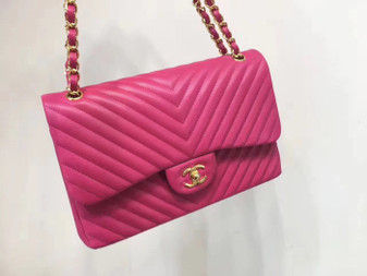 Chanel Chevron Flap Bag 30cm Gold Hardware Lambskin Leather Spring/Summer 2018 Collection, Fuchsia