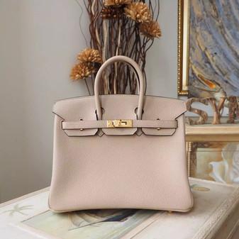 Hermes Birkin 25cm Bag Togo Calfskin Leather Gold Hardware, Gris Tourterelle CK81