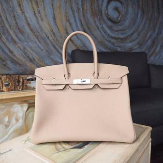 Hermes Birkin 35cm Bag Togo Calfskin Leather Palladium Hardware, Gris Tourterelle CK81