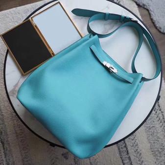 Hermes So Kelly 26cm Bag Togo Calfskin Leather Palladium Hardware, Blue Atoll 3P