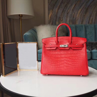Hermes Birkin 25cm Bag Matte Mississippiensis Alligator Skin Palladium Hardware, Rose Extreme I6