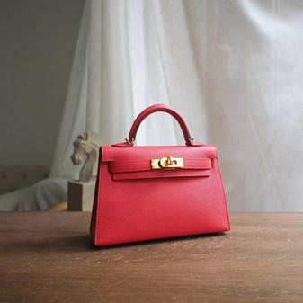 Hermes Mini Kelly 19cm Epsom Calfskin Leather Gold Hardware, Rouge Tomate S5