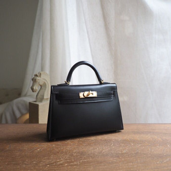 Hermes Mini Kelly 19cm Box Calfskin Leather Gold Hardware,  Noir CK89