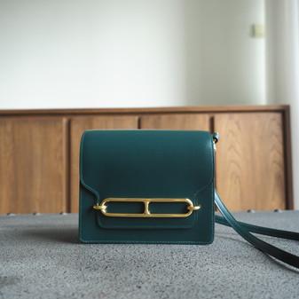 Hermes Roulis 18cm Bag Box Calfskin Leather Gold Hardware, 2Q