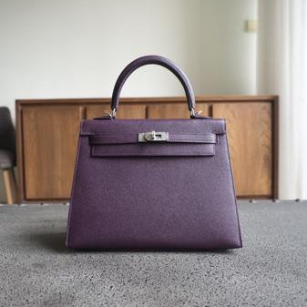 Hermes Kelly 25cm Bag Epsom Calfskin Leather Palladium Hardware, CK59