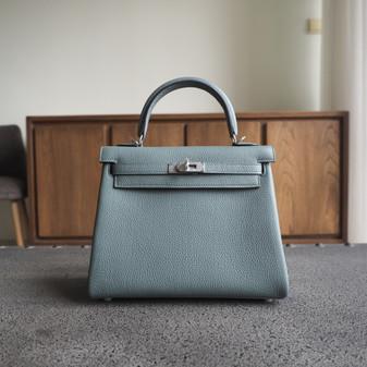 Hermes Kelly 25cm Bag Togo Calfskin Leather Palladium Hardware, CK63