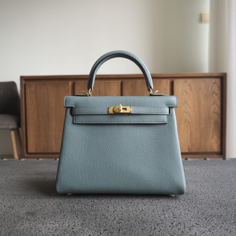 Hermes Kelly 25cm Bag Togo Calfskin Leather Gold Hardware, CK63