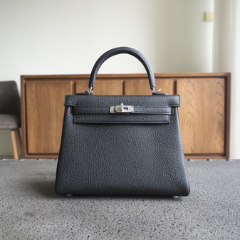 Hermes Kelly 25cm Bag Togo Calfskin Leather Palladium Hardware, CK89