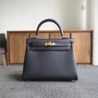 Hermes Kelly 25cm Bag Togo Calfskin Leather Gold Hardware, CK89