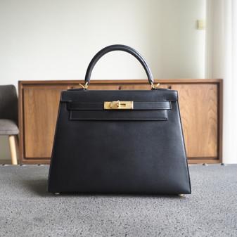 Hermes Kelly 28cm Bag Box Calfskin Leather Gold Hardware, CK89