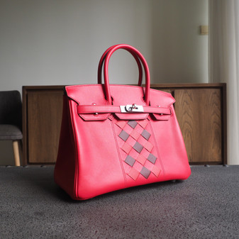 Hermes Tressage Birkin 30cm Bag Swift Calfskin Leather Palladium Hardware, S5