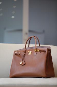 Hermes Birkin 40cm Bag Barenia Leather Palladium Hardware, Gold CK37