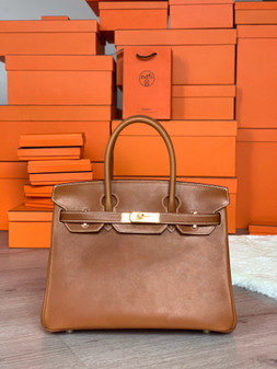 Hermes Birkin 35cm Bag Barenia Leather Gold Hardware, Gold CK37