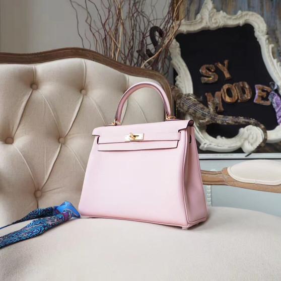 Hermes Kelly 25cm Bag Swift Calfskin Leather Gold Hardware, Rose Sakura 3Q