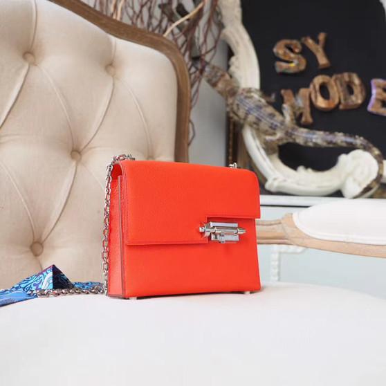 Hermes Verrou 18cm Bag Chevre Mysore Goatskin Leather Palladium Hardware, Rouge Tomate S5