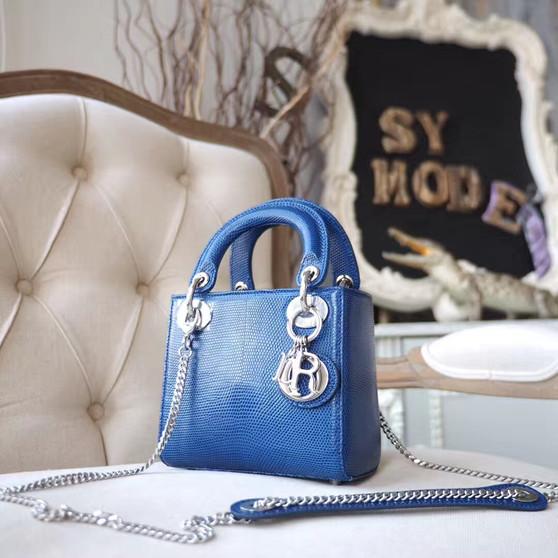 Christian Dior Mini Lady Dior 17cm Bag Lizard Skin Silver Hardware, Blue