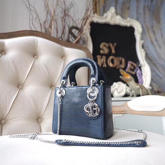 Christian Dior Mini Lady Dior 17cm Bag Lizard Skin Silver Hardware, Marine Blue