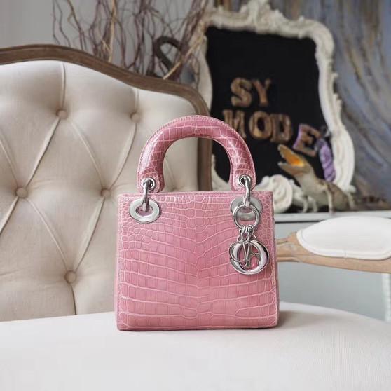 Christian Dior Mini Lady Dior 17cm Bag Shiny Niloticus Crocodile Skin Silver Hardware, Pale Rose