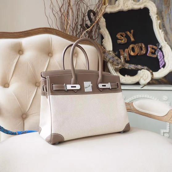 Hermes Birkin 30cm Bag H Toile Canvas Swift Calfskin Leather Palladium Hardware, Etoupe CK18