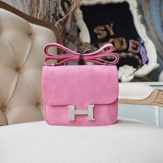 Hermes Grizzly Constance 18cm Bag Palladium Hardware, Rose Indien 5N