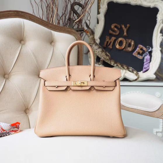 Hermes Birkin 25cm Bag Togo Calfskin Leather Gold Hardware, Tabac Camel CK24