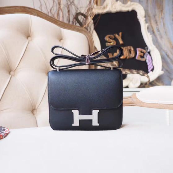 Hermes Constance 18cm Bag Swift Calfskin Palladium Hardware, Noir CK89