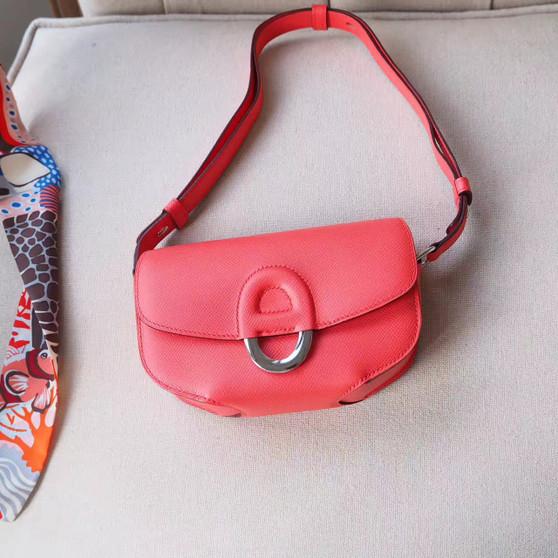 Hermes Cherche Midi Mini 20cm Bag Epsom Calfskin Leather Palladium Hardware, Rose Jaipur T5