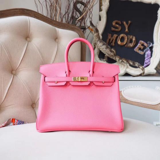 Hermes Birkin 25cm Bag Epsom Calfskin Leather Gold Hardware, Rose Azalee 8W