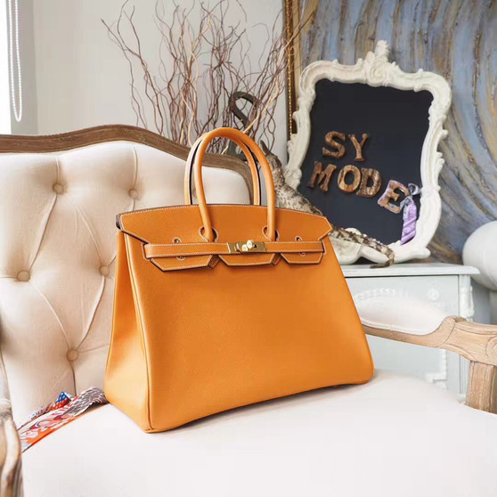Hermes Birkin 35cm Bag Epsom Calfskin Leather Gold Hardware, Toffee 1H