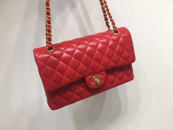 Chanel Classic Flap 25cm Bag Gold Hardware Lambskin Leather Spring/Summer 2018 Collection, Red