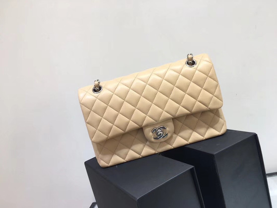 Chanel Classic Flap 25cm Bag Silver Hardware Lambskin Leather Spring/Summer 2018 Collection, Beige