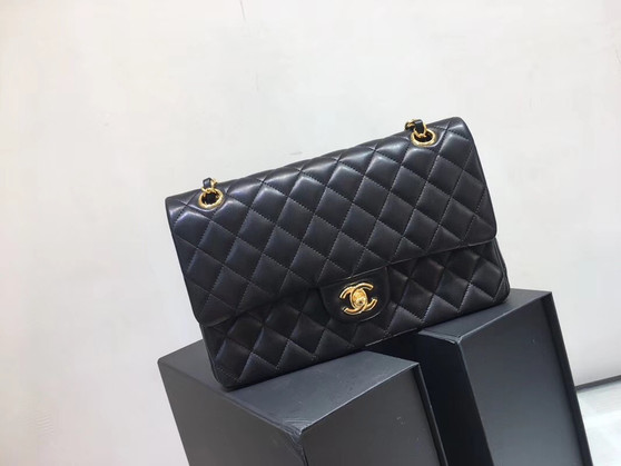 Chanel Classic Flap 25cm Bag Gold Hardware Lambskin Leather Spring/Summer 2018 Collection, Black