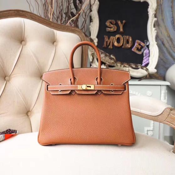 Hermes Birkin 25cm Bag Togo Calfskin Leather Gold Hardware, Gold CK81
