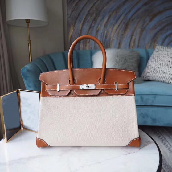 Hermes Ghillies Birkin 35cm Bag Toile Vache Barenia Leather Palladium Hardware, Gold CK37