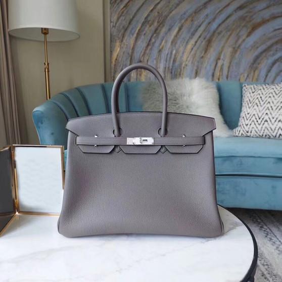 Hermes Birkin 35cm Bag Togo Calfskin Leather Palladium Hardware, Etain 8F